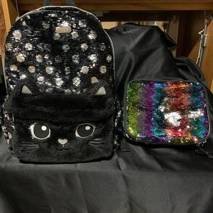 Justice Sequined backpack and lunch box